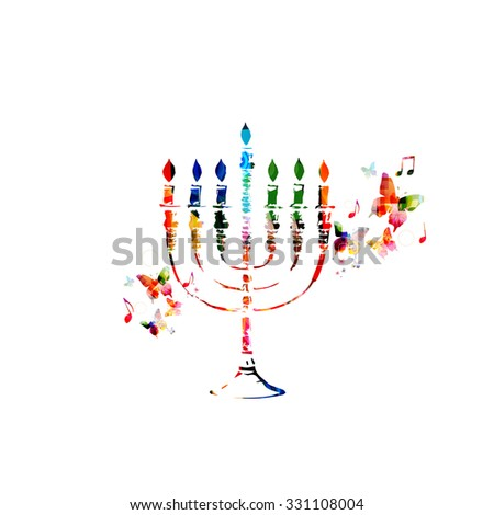Colorful Hanukkah menorah with candles - stock vector
