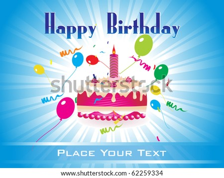 colorful happy birthday background illustration - stock vector