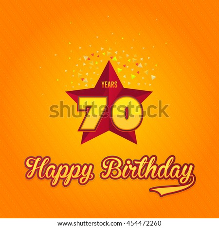Colorful Happy Birthday Design, Age 70 Concept Greeting Card Template - stock vector