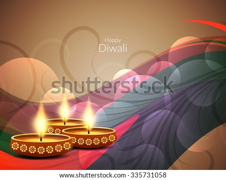 Colorful happy diwali religious background. - stock vector
