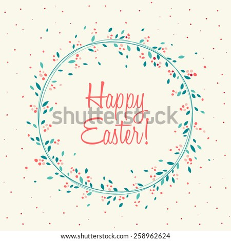 Colorful Happy Easter greeting card, Typographical Background - stock vector