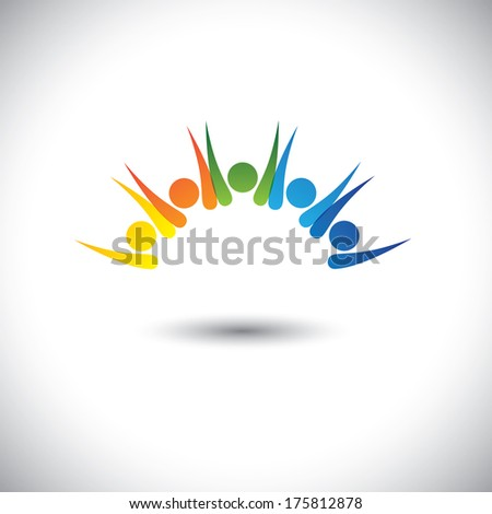 Colorful happy, excited people having fun - concept vector. This graphic icon also represents children having good time, friends party, excited team members, happy employees, satisfied customers - stock vector