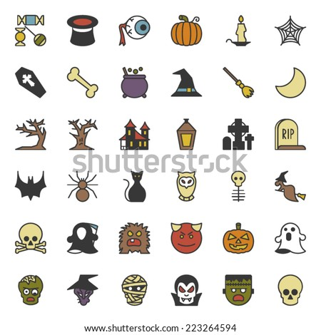 Colorful Happy Halloween Party Icon Set Collection - stock vector