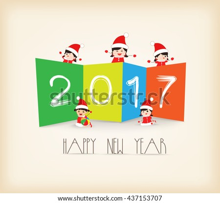 Colorful Happy New Year 2017 kids background