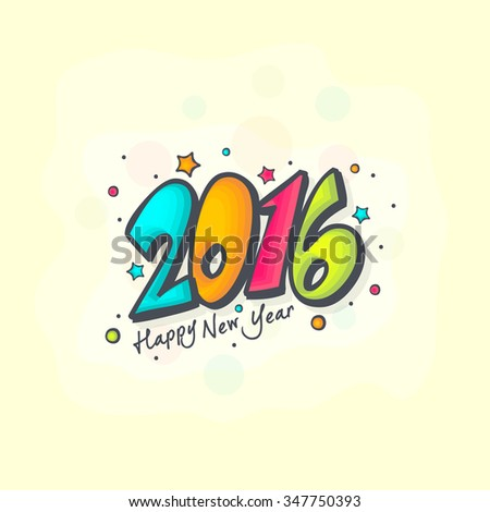 Colorful Happy new year 2016 Text Design