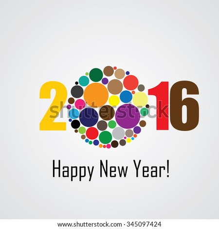 colorful happy new year 2016 vector design icon - stock vector