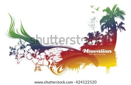 colorful hawaiian beach - stock vector