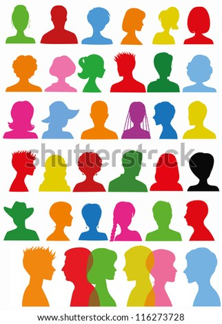 Colorful head silhouettes - stock vector