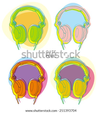 colorful headphones on white background - stock vector