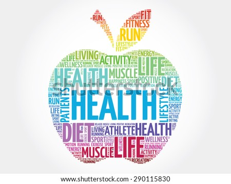 Colorful Health apple word cloud concept - stock vector