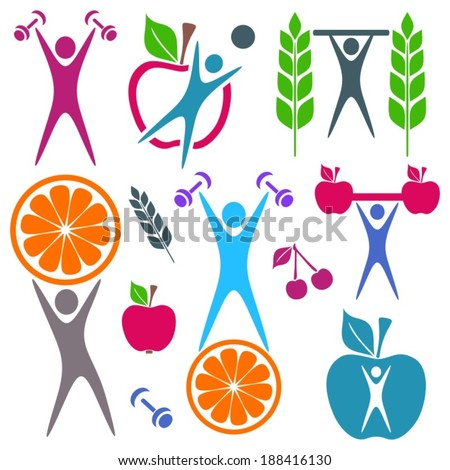 Colorful healthy food and fitness icons on white - stock vector