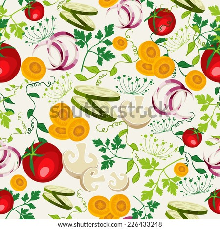 Colorful healthy food seamless pattern background for organic vegetables menu or salad bar. EPS10 vector file organized in layers for easy editing. - stock vector