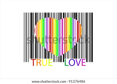 colorful heart bar code, perfect for sale, vector - stock vector