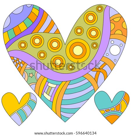 Colorful heart collection isolated over white background