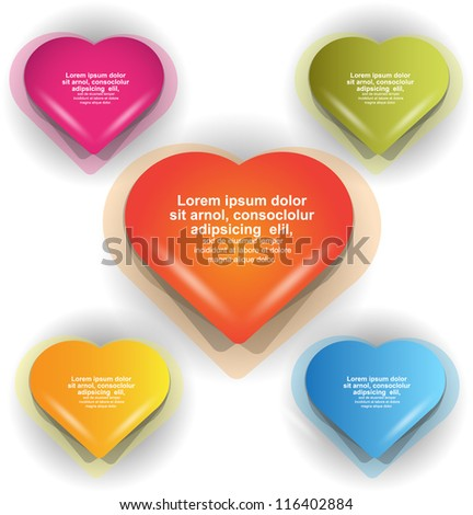 colorful heart set - stock vector