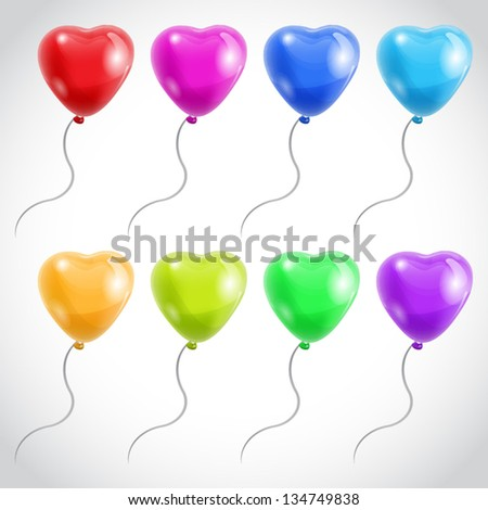 Colorful Heart Shape Balloons. Isolated on white. - stock vector