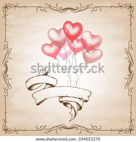Colorful Heart Shape Balloons. Valentines day . Vector illustration. - stock vector