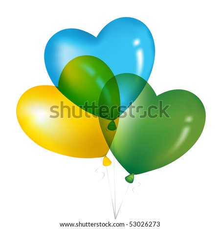 Colorful Heart Shape Balloons, Yellow, Green And Blue, Isolated on white. - stock vector
