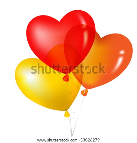 Colorful Heart Shape Balloons, Yellow, Red And Orange, Isolated on white. - stock vector