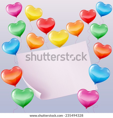 Colorful heart shaped balloons background with space for text. - stock vector