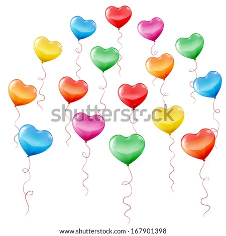 Colorful heart shaped birthday balloons on white background.