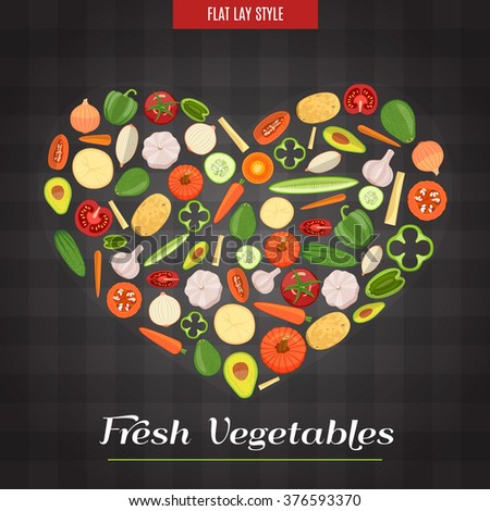 Colorful Heart Shaped Fresh Vegetables Poster In The Flat Lay Style. Vector Illustration - stock vector