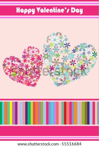 Colorful Heart Valentine's Card - stock vector