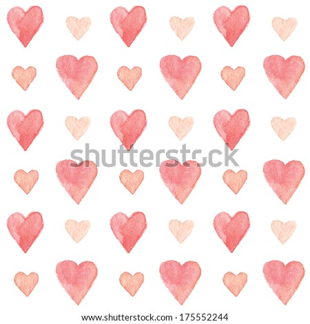 Colorful hearts seamless pattern. Vectorized watercolor drawing. - stock vector