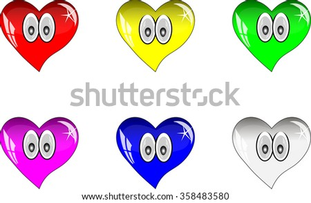 Colorful hearts with reflections. Multicolored glass hearts with eyes.