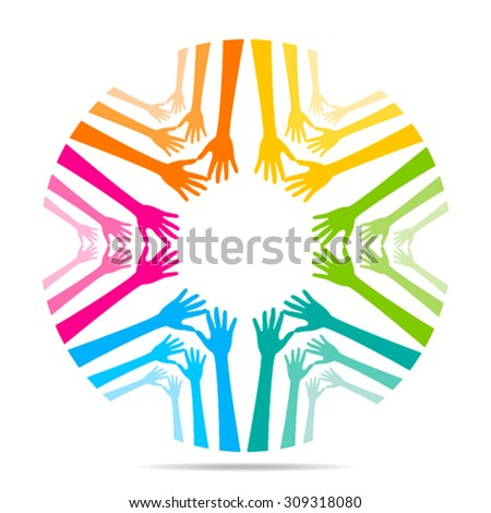 colorful helping hand background design vector - stock vector