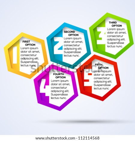 Colorful hexagon template with numbers for different business design. Vector illustration. - stock vector