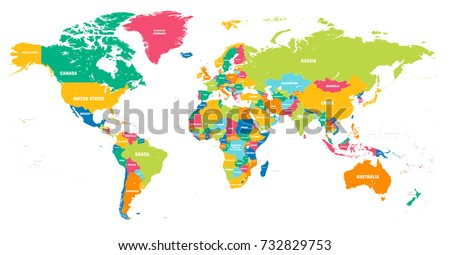 Colorful Hi Detailed Vector World Map Stock Vector - World map of all countries