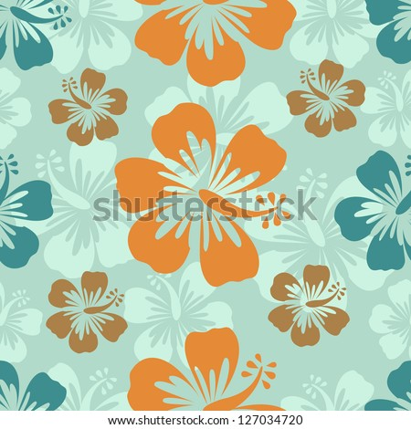 Colorful hibiscus pattern. Vector format