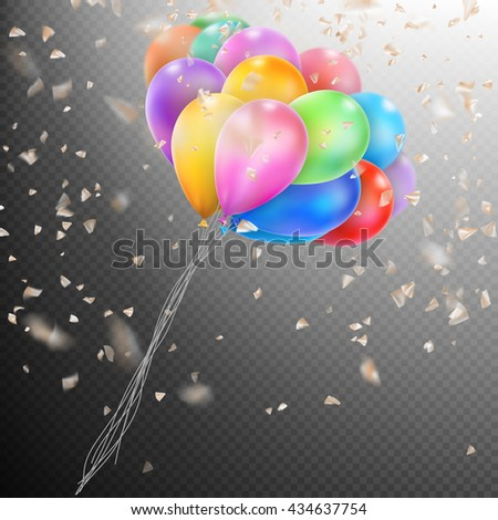 Colorful holiday background with balloons and confetti. Shallow Dof. EPS 10 vector file included - stock vector