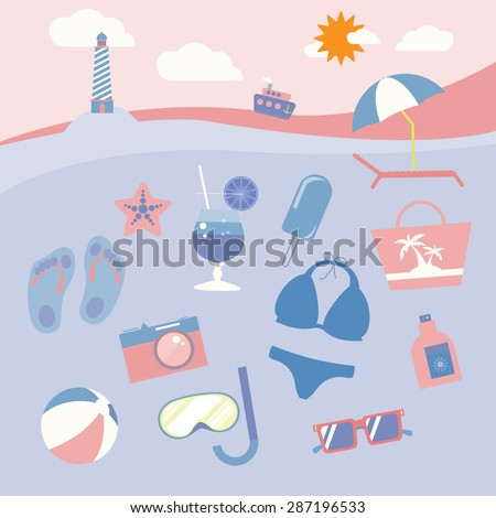 Colorful holiday beach equipment icon set. Travel digital vector background leaflet illustration. Summer infographics.