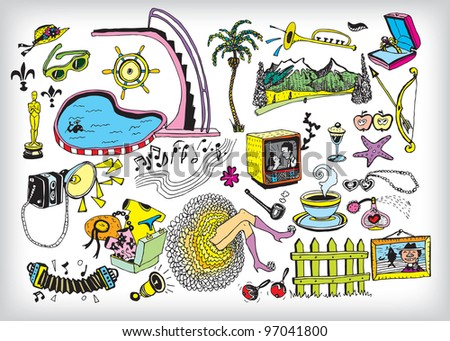 Colorful Holiday Elements (vector) - stock vector