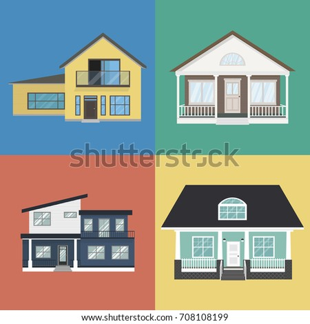 Colorful Home Exterior Design Collection In Flat Style. Modern Houses Set.  Isolated Vector Illustration