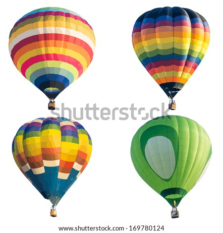Colorful hot air balloon isolated on white background, vector format - stock vector