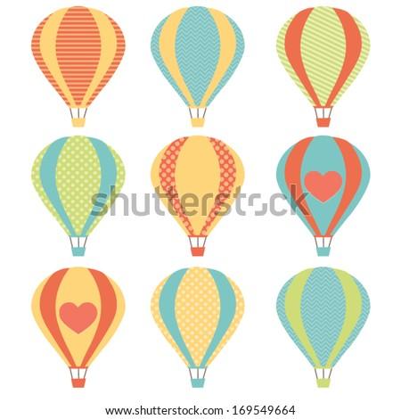 Colorful hot air balloons set - stock vector