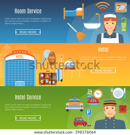 Colorful Hotel Flat Horizontal Banners Set. Hotel. Room Service. Hotel service. Hotel Infographics Objects And Web Elements Collection. Vector Illustration - stock vector