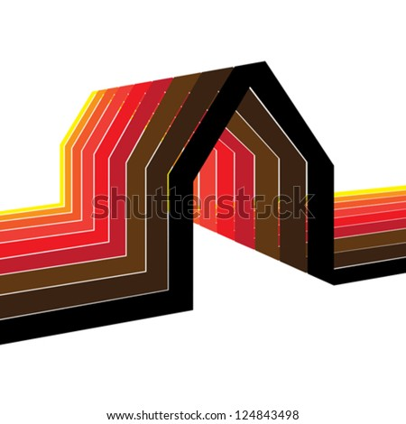 Colorful house/home symbol illustration in shades of red, orange, yellow, black and brown. The graphic is symbolic of residential property of real estate or construction industry - stock vector