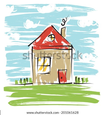 Colorful house, kids drawing. - stock vector