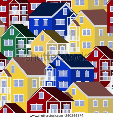 Colorful house pattern illustration background - stock vector
