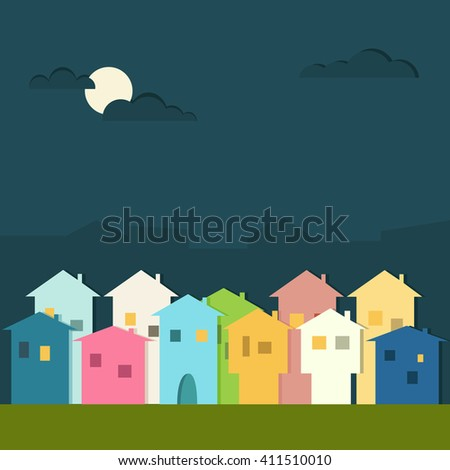 Colorful Houses For Sale / Rent. Real Estate Concept - stock vector