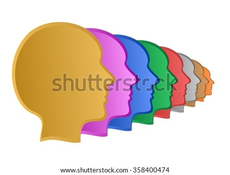 Colorful human faces in a row diminishing on a transparent background
