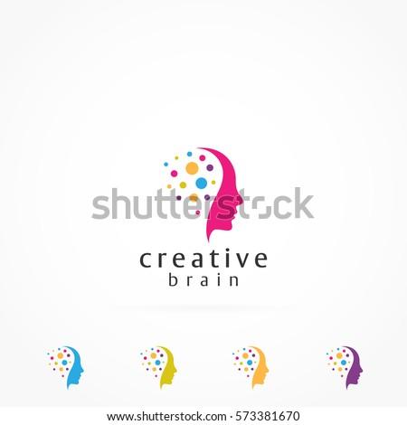 Creative Mind Colorful Pixels Logo Stock Vector 573388894