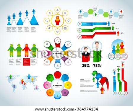 Colorful human infographic collection vector design template. Can be used for workflow processes, banner, diagram, number options, work plan, web design. Isolated vector illustrations, - stock vector