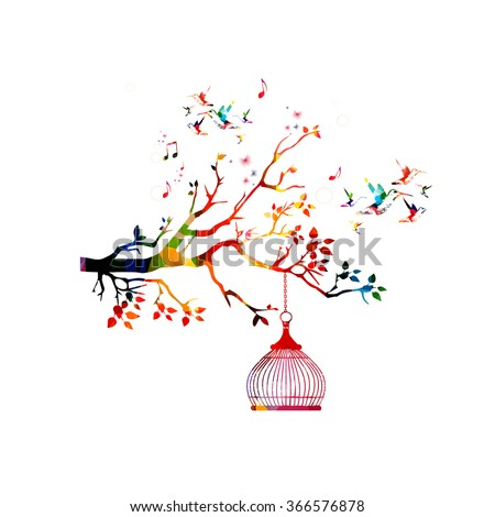 Colorful hummingbirds background - stock vector