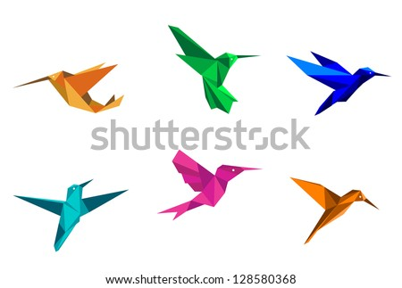 Colorful hummingbirds in origami paper style on white background. Jpeg version also available in gallery - stock vector