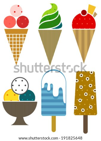 colorful ice cream set icons - stock vector